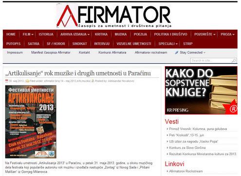 """Часопис Афирматор - најава Фестивала уметности """"Артикулисање 2013"""""""