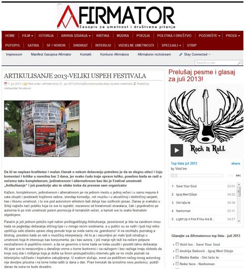 """Часопис Афирматор - извештај са Фестивала уметности """"Артикулисање 2013"""""""