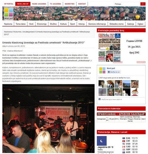 """Недељник Нови пут - извештај са Фестивала уметности """"Артикулисање 2013"""""""