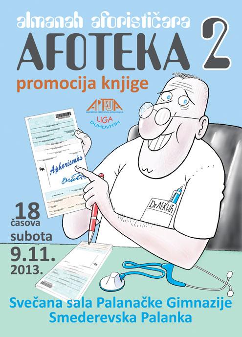 """Алманах афористичара """"Афотека 2"""" - најавни плакат за Смедеревску Паланку"""