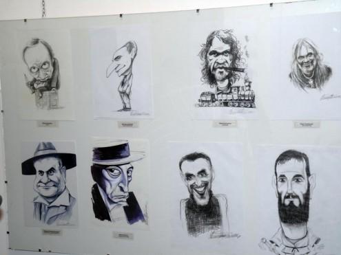 Жикишон 2014 - Детаљ са изложбе, портрет-карикатура прва у доњем реду Живојин Павловић Жикишон